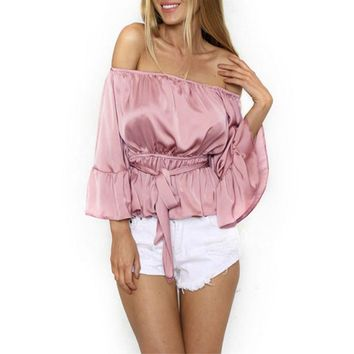 Sexy Off Shoulder Ruffle Bow Blouse Shirt Soft Satin Flare Sleeve Elegant Party Women Blouses