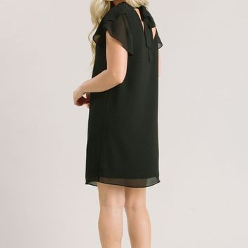 Nicole Black Ruffle Shift Dress