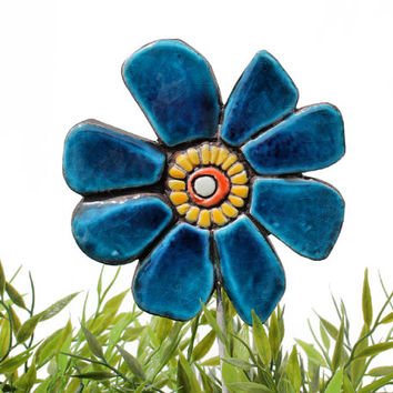 Flower garden art - plant stake - garden marker - garden decor - flower ornament - ceramic flower - buttercup - teal