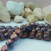 Blue Crystal and Bronze Czech Glass Beads - Chisseled beads, 8x6 mm, String of 15