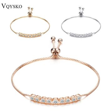 Cake Shape Cubic Zirconia Crystal Adjustable CZ Zircon Bracelets for Women in Rose Gold Color or Silver Colors