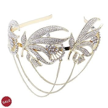 Roaring 20s Forehead Band Bridal Headpiece