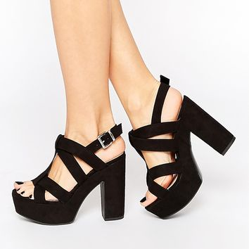 New Look Wide Fit Platform Heeled Sandals