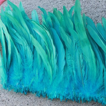 Coque feathers 8-10 inch in length in light turquoise, aqua blue green