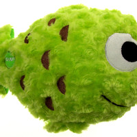 "Green Fish Pillow Color LED Light Up Flash Plush 12"" Microbeads Home Bed Decor"