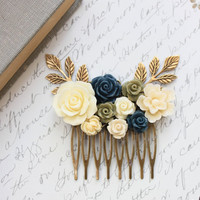 Bridal Hair Comb Ivory Cream Rose Navy Blue Rose Hair Comb Khaki Green Something Blue Flowers for Hair Garden Wedding Country Chic Floral