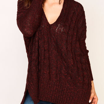 OVERSIZED CABLE KNIT SWEATER - REDLINE