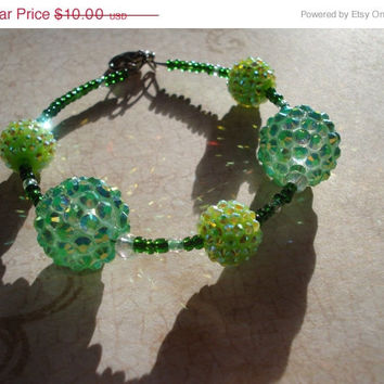 ON SALE Glittering Green Crystal Berry Beaded Bracelet - Holiday - Christmas - Formal - New Years - Halloween -Crystal jewelry -memory wire