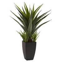 Nearly Natural Agave with Black Planter Green