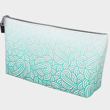 Gradient turquoise blue and white swirls doodles Makeup Bag Makeup Bag