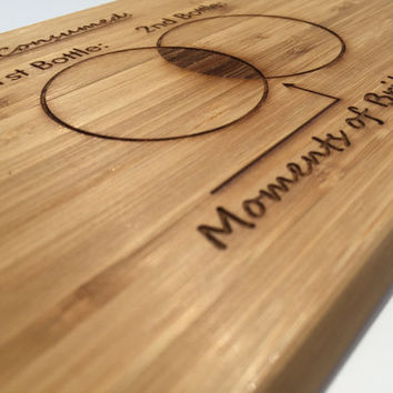 Wine Lover's Brilliant Cutting Board- Laser Engraved- Kitchen Art, Engraved Wood Bamboo Kitchen Decor, Geekery