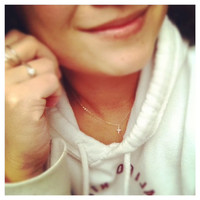 Dainty Sterling Silver  Cross Necklace  -  Everyday Jewelry