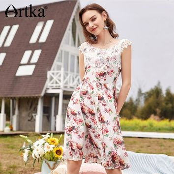 Artka 2018 Summer New Women A-line Water Soluble Lace Round Neck Sweet Floral Print Sleeveless Big Swing Dress LA11789X