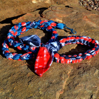 Braided Fleece Dog Leash, Agility Tug Leash, Patriotic Red, White and Blue Dog Sport Leash