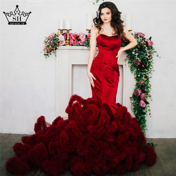 Real Photo Luxury Croset Bodice Top Quality Lace Up Cloud Mermaid Wedding Dress Burgundy Bridal Gowns Robe De Mariage Rouge 2017