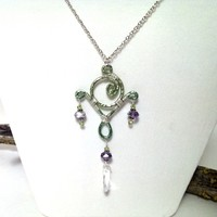 Wire wrapped chandelier style necklace