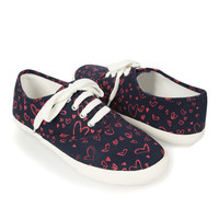 Scribbled Heart Lace-Up Tennis Shoes