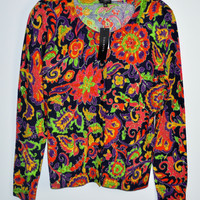 Talbots Size Small Petite Cardigan Sweater Floral New $89.50