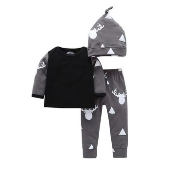 Newborn Baby Boy Clothes Sets Cartoon Deer Long Sleeve Tops+Pants+Hat New Autumn 3pcs Outfits Infant Baby Girl Clothing Set Z128