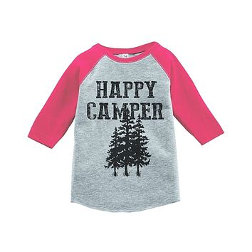 Custom Party Shop Girl's Happy Camper Outdoors Raglan Tee
