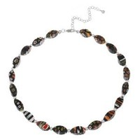 """Hand -Blown Multi-Colored Black Twisted Glass Bead and Sterling Silver Bead Necklace, 16+3"""" Extender"""