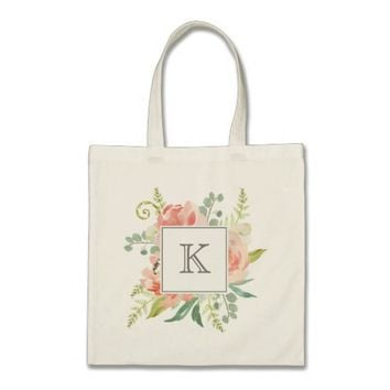 Peaches and Cream Watercolor Floral with Monogram Tote Bag