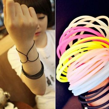 Pastel Goth Gummy Bracelets - 20 per set in White, Black or Mixed