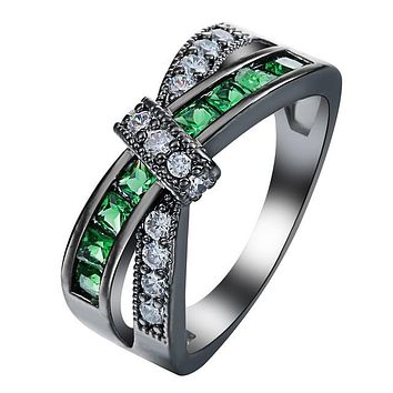 Cross Finger RingLady Paved Zircon Luxury Princess Women Wedding Engagement Ring