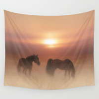 Horses in a misty dawn Wall Tapestry by Valerie Anne Kelly