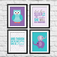 owls elephant decor, girl nursery art prints, let her sleep art, and though she be but little art, purple and teal nursery decor, baby art