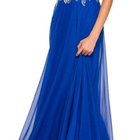 Royal Blue Long Formal Gown A Line Beaded Bodice Includes Jacket