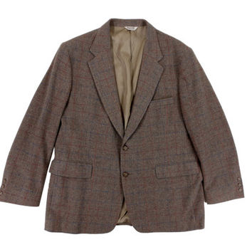 Vintage Tweed Sport Coat in Tan Grey - Jacket Blazer Windowpane Menswear - Men's Size 46 Regular XL Extra Large