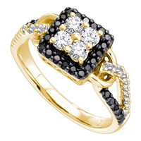 Black Diamond Fashion Ring in 14k Gold 0.75 ctw
