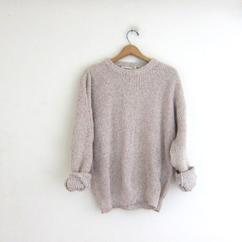 Vintage cotton knit sweater. ribbed boyfriend sweater. basic sweater with speckles
