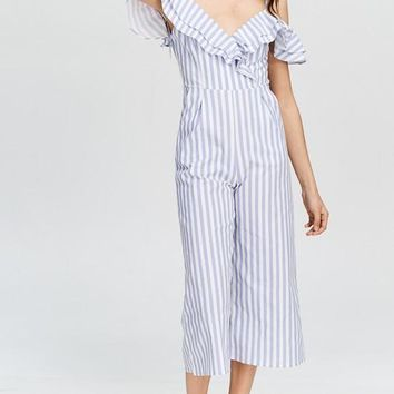 Emma Off The Shoulder Tulip Ruffle Jumpsuit (Blue)