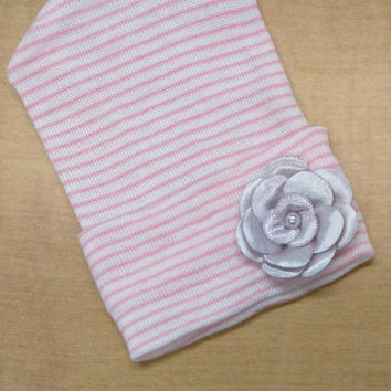 Newborn Hospital Hat w/ Lavender Flower Applique and Pearl. Baby Beanie. Pink and White Stripe Newborn Hat. Great Gift & Coming Home In!