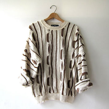 Vintage 80s abstract sweater. Bill Cosby sweater. Oversized sweater. Neutral colors.