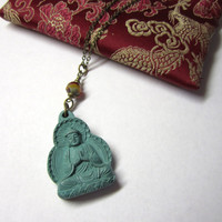 Buddha Necklace  with Czech Glass Bead by 636designs on Etsy