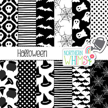 Black and White Halloween Digital Paper - spooky ghost, skull, bat, and witch hat seamless patterns - scrapbook paper - commercial use CU OK