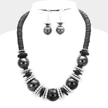 Chunky Black & Silver Bead wood disc cluster bib necklace and earring set