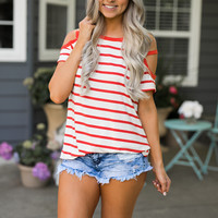 Wendy Striped Top (Red)