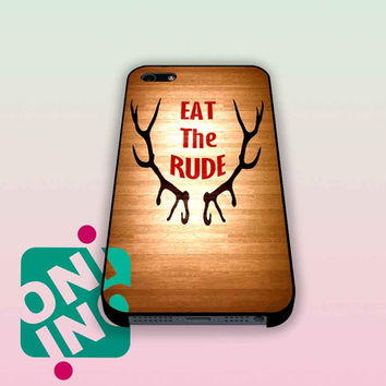 Eat the Rude Hannibal on Wood iPhone Case Cover | iPhone 4s | iPhone 5s | iPhone 5c | iPhone 6 | iPhone 6 Plus | Samsung Galaxy S3 | Samsung Galaxy S4 | Samsung Galaxy S5