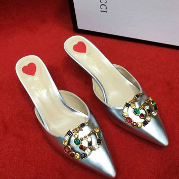 Gucci Women High Heel Sandals Soles Heart Pointed shoes B-ALS-XZ Silver