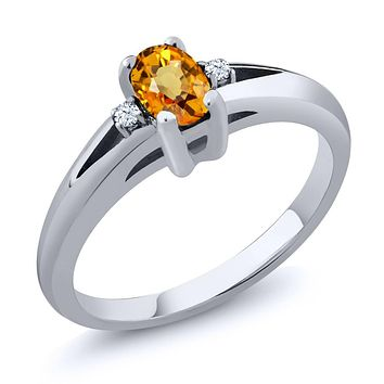 925 Silver Natural Yellow Sapphire White Topaz Ring