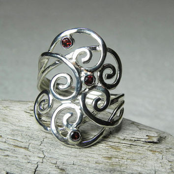 RING Swirl Ring Garnet Ring Sterling Silver by FantaSeaJewelry