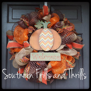 Fall Wreath, Fall Deco Mesh Wreath, Autumn Wreath, Thanksgiving Wreath, Fall Door Hanger, Autumn Door Hanger, Jute Wreath, Thanksgiving