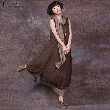 Newest Women Dress 2017 Summer Sexy Oversized O Neck Sleeveless Dress Vintage Casual Loose Long Maxi