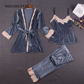 MECHCITIZ Three Piece Female Sexy Pajamas Set Autumn Winter Velvet Robe Sling Pajamas Long Sleeved Pants Women Nightgown 4 Color
