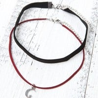 With Love From CA Velvet Star & Moon Necklace Set - Womens Jewelry - Black - One