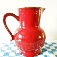 Red Emile Henry Pitcher, Bright Red Pitcher, Large Raspberry Pitcher, Dark Red Emile Henry France Jug